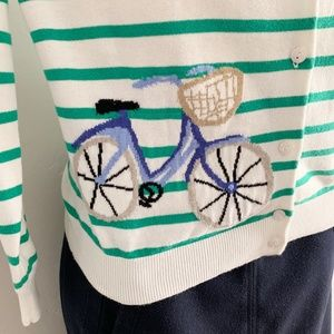 Talbots Green Striped Bicycle Embroidered Cardigan